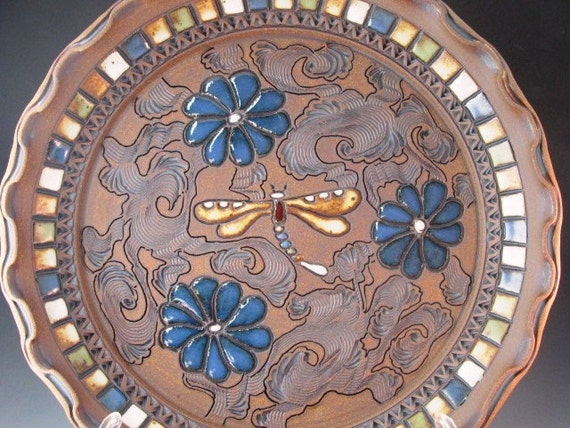 Stunning Platter With Flowers And Dragonfly With Swirl Design