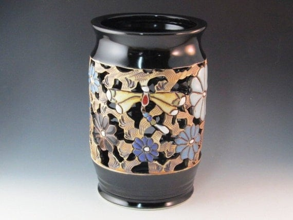 Vase With Outstanding Black  Glaze With Dragonflies, Flowers, And Swirl Design