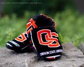 Baby Shoe - Oregon State Beavers - College - Black Orange - Team - Football - Basketball - Crib Shoe - Infant Shoe - Fleece Soft Sole