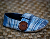 London Loafer Soft-soled Baby Shoes - Blue Plaid - Brown Button - Leather - Infant Shoe - Crib Shoe - Little Man