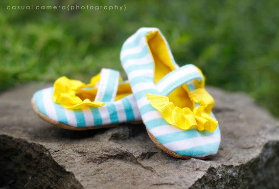 "Mary-Jane Style Baby Shoe - ""The Lauren"" - Yellow Ruffle - Turquoise White Stripe - Recycle Upcycle - Leather Sole - Velcro"
