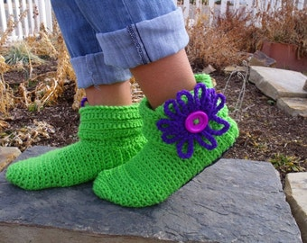 Green Flower Ankle Boots