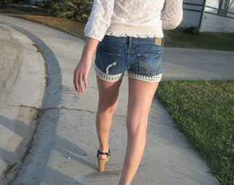Lace Hollister Shorts w/ Pearls