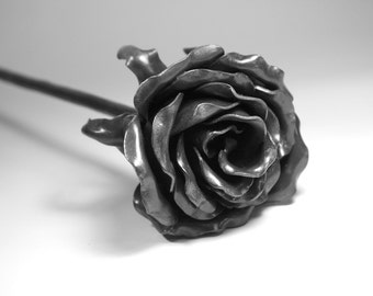 Personalized Long stemmed Life Size FOREVER ROSE Forged Iron 6th Wedding Anniversary Gift Steel Metal Flower Steampunk Valentine's