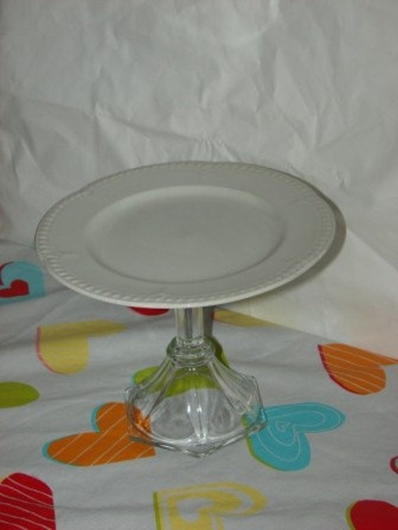 Dessert Cake stand 50% off Easter Spring Vintage White circle