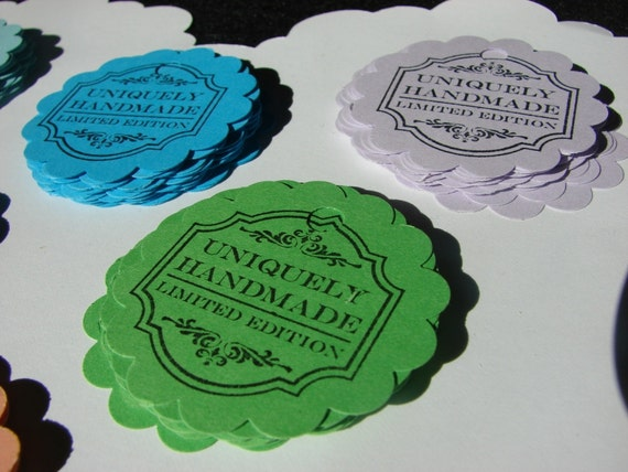 """2"""" Scalloped Circle Handstamped Product Tags 50 pieces"""