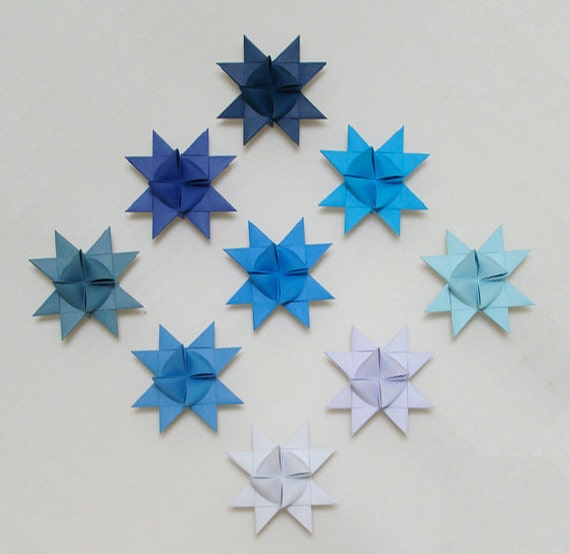 Moravian Stars (9): Shades of Blue, 2 inches