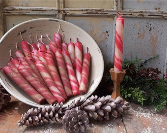 Red and White Candle Cane Tapers