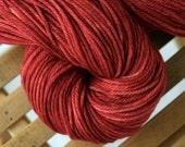 Hand dyed worsted weight yarn, 100% Superwash Merino Wool, red orange - Sangria