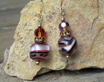 Unique Earrings Orange Black Vintage Beads Rhinestones