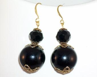 Rockabilly Earrings Black Vintage Beads Kitschy Cool