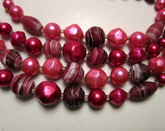 Valentine Necklace Vintage Triple Strand Red