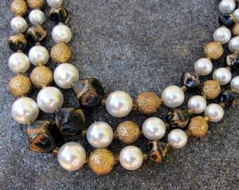 Vintage Necklace Triple Strand Brown Gold