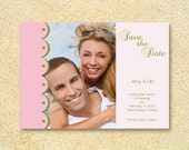 Wedding photo save-the-date- Cotton Candy- Bridal Shower, Bachelorette party, Wedding Invitation, Thank You.