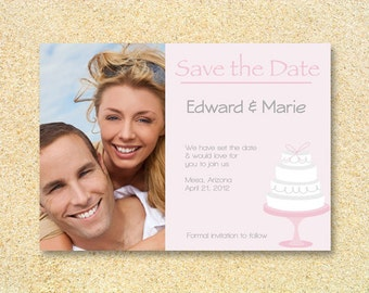 Wedding save the date photo invitation- First Cake- Bridal Shower, Bachelorette party, Wedding Invitation, Thank You.