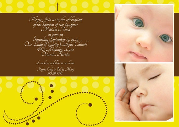 Items Similar To Photo BaptismChristening Invitation Dawn Birth - Birthday invitation and christening