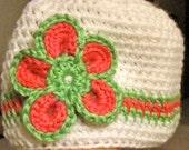 Lime Green and Pink flower beanie