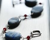 Kyanite Sterling Silver Bracelet Carnelian Beads Toggle Clasp