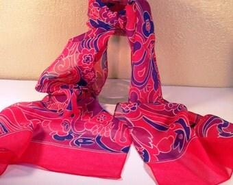70s fuschia and purple long scarf