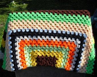"granny square crochet afghan 48"" square perfect"