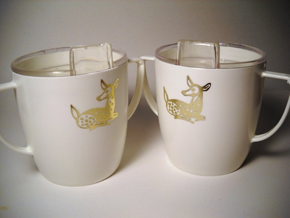 2 vintage gold fawn on white sippy cup 1978 deer baby shower