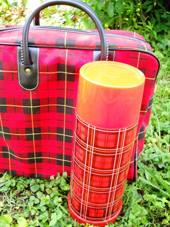 vintage aladdin plaid picnic stadium lunch tote, thermos, and sandwich saver.
