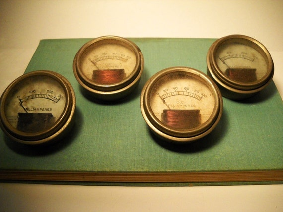 4 antique vintage 1930s readrite radio gauges Steampunk