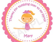 Lil Sweet Gymnastics Girl Personalized Stickers, Birthday Stickers, Favor Tags, Gymnastics, Birthday, Baby Shower, Thank You