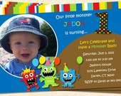 Monster Fun Custom Birthday Invitation, Photo Invitation, DIGITAL, Printable, Matching Thank You Card, Party Favors Available