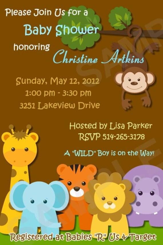 safari jungle animals custom baby shower invitation digital
