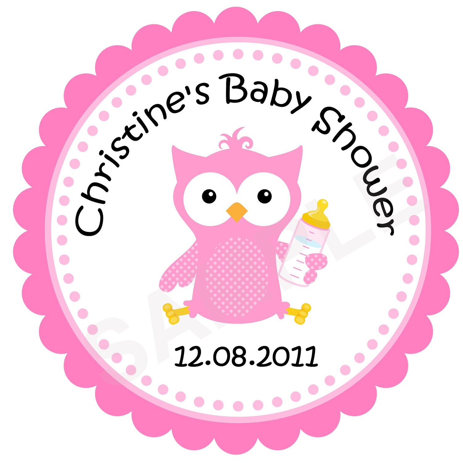 baby owl personalized stickers baby shower by treasuredmoments2000