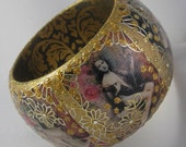 Wooden bangle BEAUTY AND MONEY One Of A Kind embellished wood bangle w/Swarovski crystals