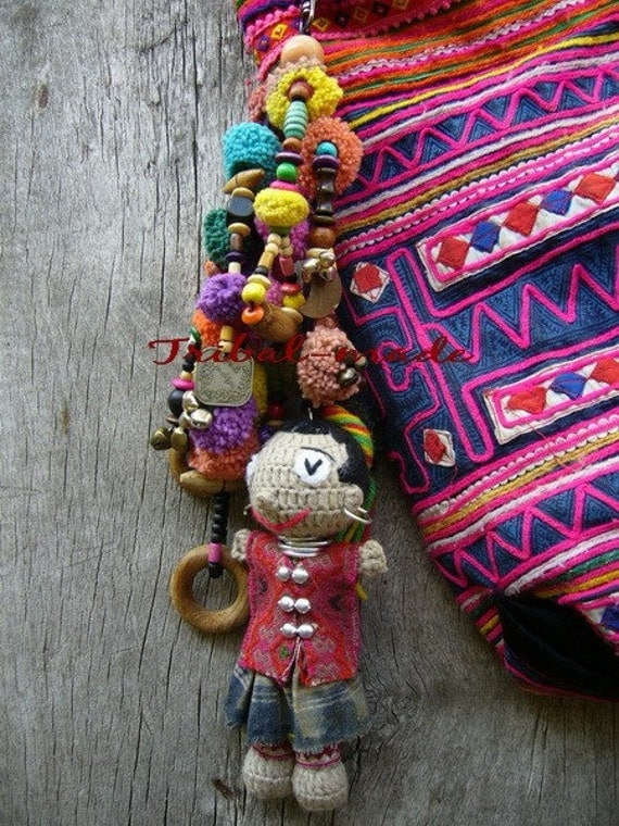 Tribal charm crochet doll in Hmong style (Reserved for CalifoniaDeals)
