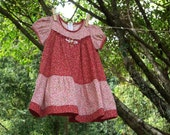SALE : Maroon Red Tiny Blossom Tiered Twirl Dress BEGONIA, Size 1-6 Years