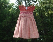SALE : Maroon Red Tiny Blossom Smocked Dress CAMELIA, Size 1-6 Years