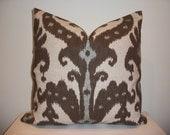 20 x 20 Brown and Blue  Ikat  Designer Pillow Cover - Decorative Throw Pillow