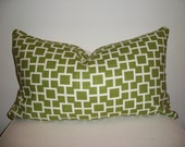 13 x 22 Green and Off White Geometric  Designer Lumbar Pillow Cover - Decorative Throw Pillow (18x18 and 20x20 custom sizes available)
