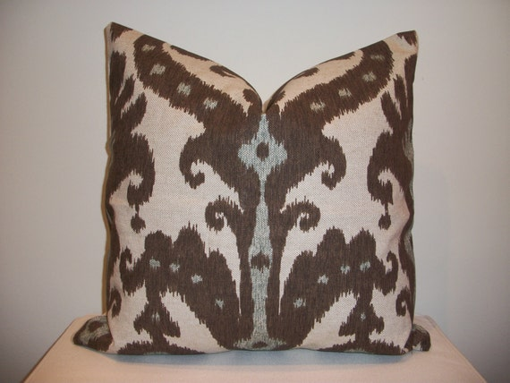 20 x 20 Brown and Blue  Ikat  Designer Pillow Cover - Decorative Throw Pillow