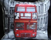 Pillow London Red bus route master cushion cover  16 x 16 inches UK city urban grey black Throw pillow cushion cover