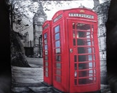 Pillow Red london phone box Big ben cushion cover cream 16 x 16 inches UK British urban