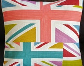 Throw pillow Union Jack UK flag cushion cover pink blue coral red green 16 x 16 inches rectangle triangle olympics queens jubilee
