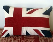 Lumbar pillow Union jack london red white blue chenille cover memorabilia flag cushion cover 10 x 16 inch olympics 2012 queeens jubilee