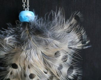 feather necklace blue glass bead pendant necklace