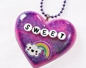 Sweet Skies Pink and Purple Kawaii Heart Resin Necklace Pendant