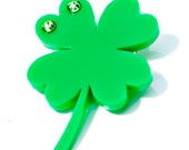 St Patricks Day Lucky Green 4 Leaf Clover Brooch/Pin With Swarovski Crystals