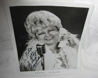Signed Black & White 8x10 photo of Peppy Fields, a singer from the 1960's