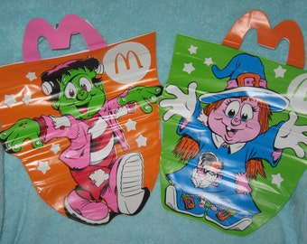 2 McDonalds Halloween Trick or Treat Bags or Sacks, circa 1990's