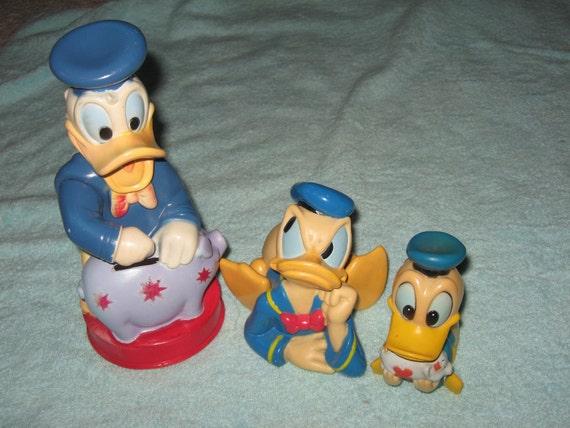 3 Vintage Donald Duck Banks, by Walt Disney Productions