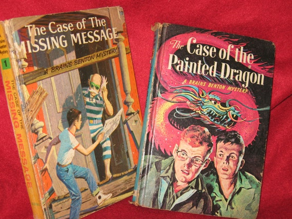 2 Vintage Brains Benton Mystery Books, Case of the Missing Message and Case of the Painted Dragon