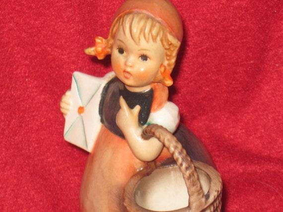 RESERVED FOR GERRY Vintage Hummel Meditation a Girl Holding a Basket and Letter,  13/2/0, 1962